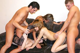Badass college chicks suck big sausages at sizzling party