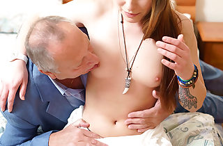 Nubile stunner seduced by a man three times her age