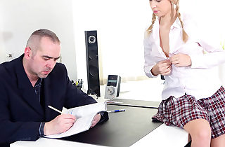 Horny college girl seduces her teacher with her cock-squeezing assets